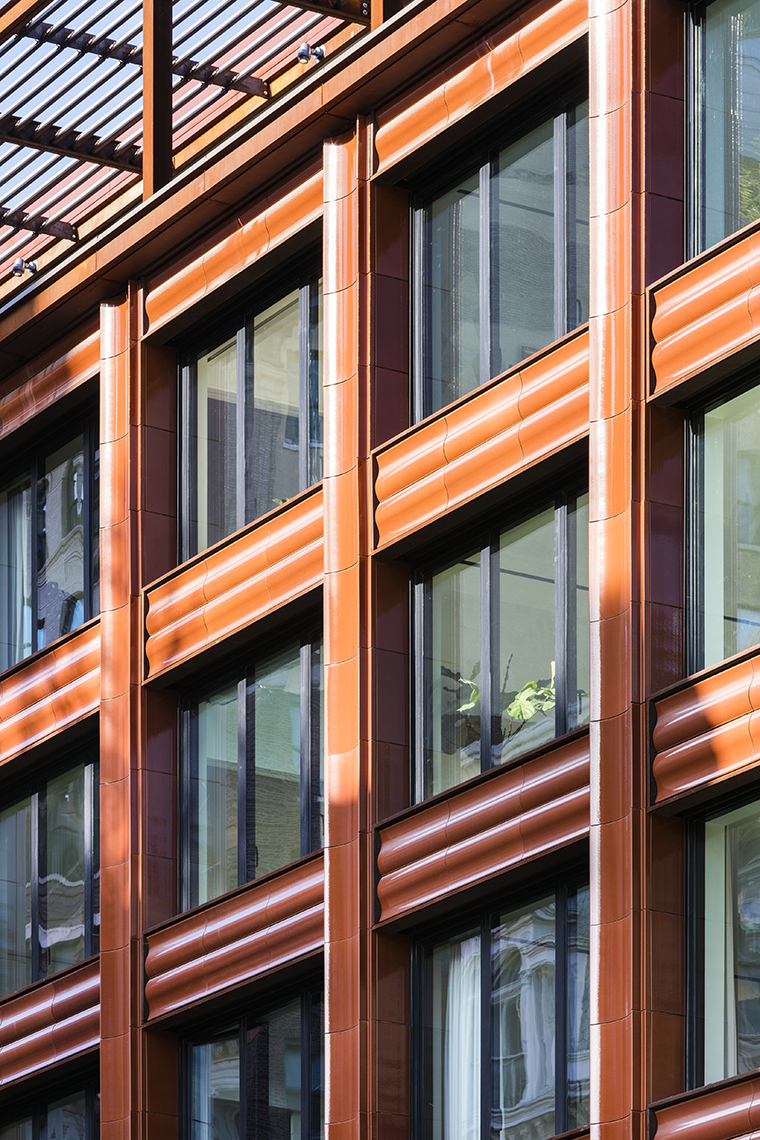 Orange TerraCladⓇ façade in New York City, Selldorf Architects, Custom Glaze and extruded terra cotta by Boston Valley Terra Cotta